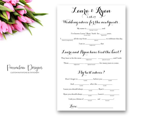 Wedding Mad Libs, Advice for the Bride and Groom {FS02}