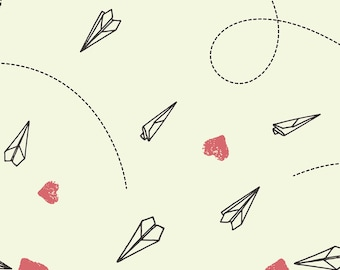 Paper Airplanes Fabric - Sending Love By Figandfossil - Paper Planes Cotton Fabric By The Yard With Spoonflower