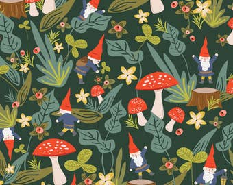 Gnome Fabric - Woodland Gnomes By Shelbyallison - Gnome Cotton Fabric By The Yard With Spoonflower