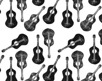 Black and White Guitar Fabric - Block Print Guitar By Biancagreen - Minimalist Musical Guitar Cotton Fabric By The Yard With Spoonflower