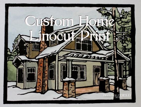 Custom Home Lino Print