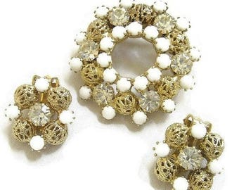 Milk Glass and Filigree Balls Brooch and Earrings Set Vintage Circle Wreath
