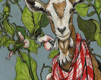 Goat in the Pea Patch- Small Print 4.5x4.5