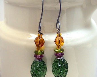 Vintage German Pressed Green Glass Dangle Drop Bead Earrings ,Vintage Citrine Crystal Beads,Purple Glass ,Handmade Sterling Silver Ear Wires