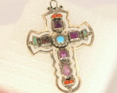 Large Sterling Silver Cross Vintage Amethyst Turquoise Coral Gemstones Pendant Signed Charm