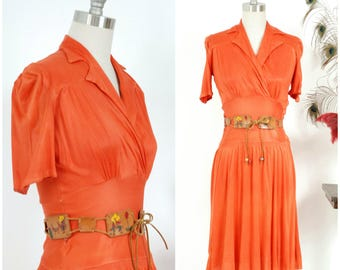 Vintage 1930s Dress - Fantastic Flame Orange Red Rayon Jersey Late 30s Day Dress with Fitted Midwaist and Surplice Neckline