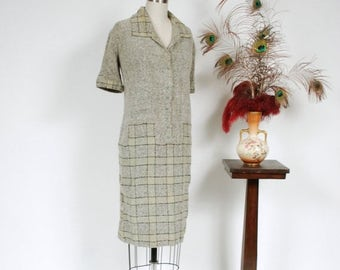 SALE - Vintage 1920s Sweater Dress - Chic and Rare Grey Wool Knit Boucle 20s Day Dress with Pale Green Checkerboard Skirt