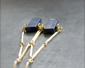 ON SALE Blue Lapis Lazuli Earrings -  Gold Brass, Gold Flake, Long Stone Earrings, Boho Jewelry
