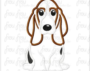 "Basset Hound Dog Digital Embroidery Design Machine Applique 4""-16"""