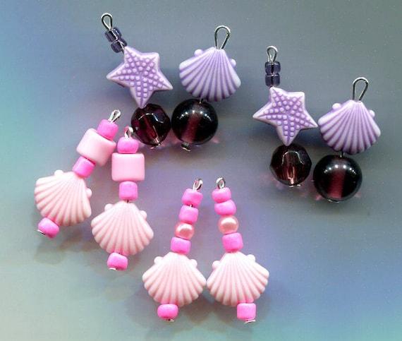 sea shell charms starfish charms lot sea life jewelry purple pink glass bead drops nautical ocean sealife mermaid jewelry findings