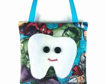 Blue green black red boy tooth fairy pillow w/ tooth pocket, tooth applique, embroidered mouth, tooth fairy pouch, lost tooth fairy bag gift