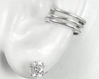 Ear Cuff, Silver Ear cuff,  Non-pierced, Cartilage Wrap, Earring Fake Conch, No Piercing,Cuff Earring,Faux Pierced Hoop Triple Round  ETRWSS