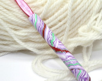 Polymer clay covered crochet hook, new size I9 or 5.50mm, Susan Bates, handmade design, ready to ship