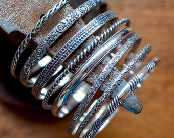 Classic Sterling Silver Bangles, Single or By the Bunch - 8 gauge Sterling Silver
