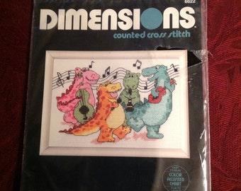 Vintage--1992--Dimensions--Cross Stitch--Kit--Rockin' DINOS--Sealed--5x7