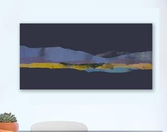 Minimalist Abstract Mountain Landscape, Canvas Print, Minimalistic, Modern Landscape Mountain Art, Peaceful Landscape Print, Gray Wall Art