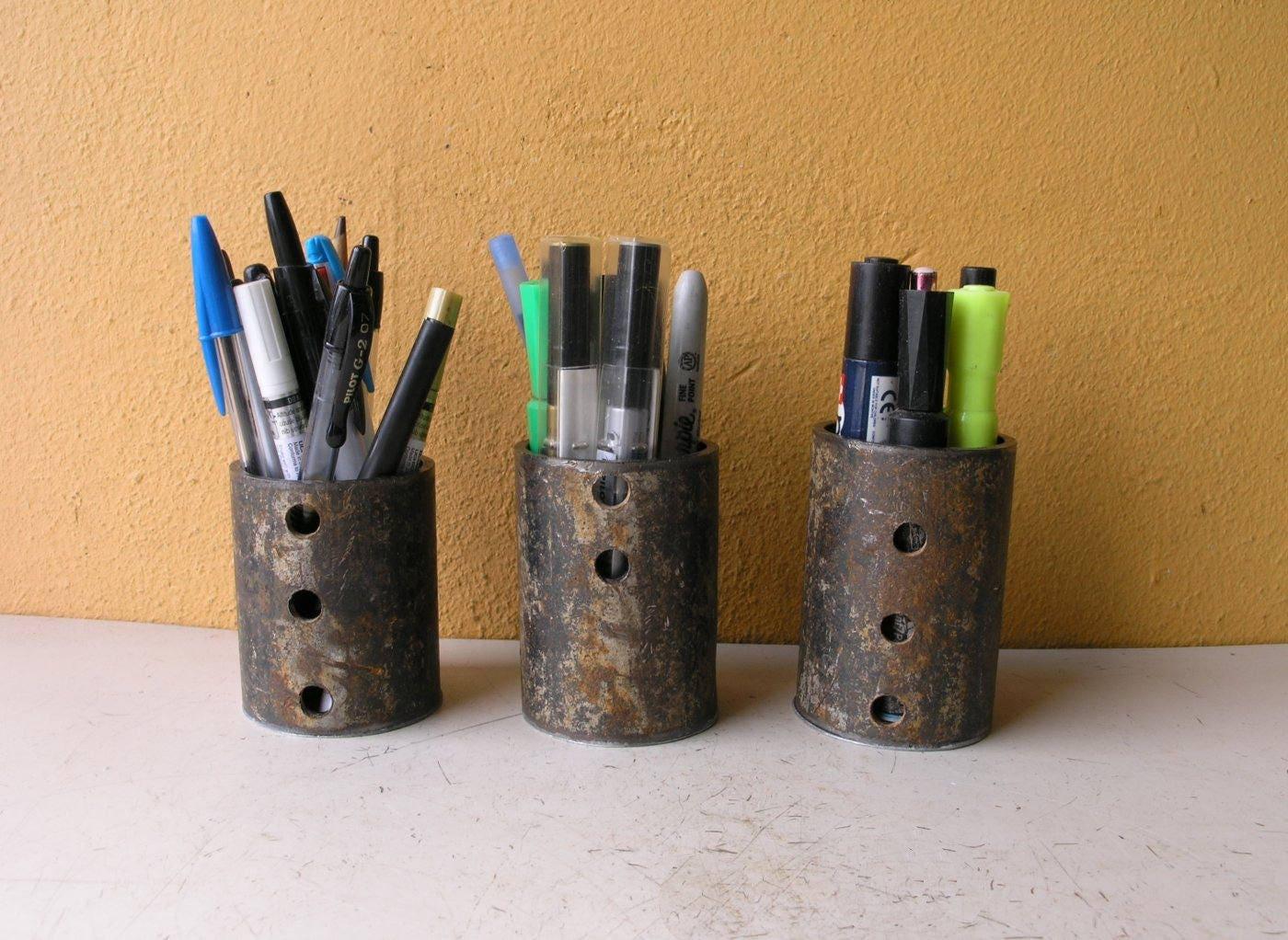 Set of 3 Pencil Holder for desk Pencil Cups Industrial Desk