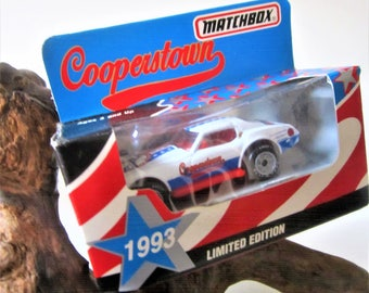 CORVETTE Cooperstown Baseball Nascar 1993 Matchbox Die-Cast Rookie Car 1 Toy Rare Vintage RC Red White Blue Stars, White Rose Goodyear Tires