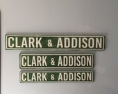 Vintage style street sign, Clark & Addison, Chicago Cubs sign, wood street sign, mancave or sports decor