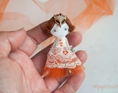 Little Orange Fox Girl and her Tiny House, Art Doll Brooch, Christmas gift for her