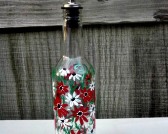 Oil and Vinegar Bottle, Dish Soap Dispenser,  Recycled Clear Beer Bottle, Painted Glass, Red and WhiteFlowers