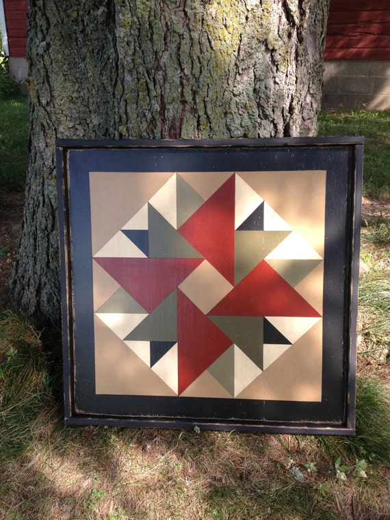 Primitive Hand Painted Barn Quilt Small Frame 2 X 2