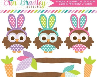 50% OFF SALE Easter Owls Clipart Graphics Carrots Tree Branches Clipart Instant Download