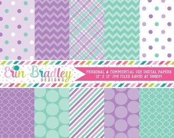 50% OFF SALE Purple and Aqua Digital Paper Pack Patterned Paper Instant Download