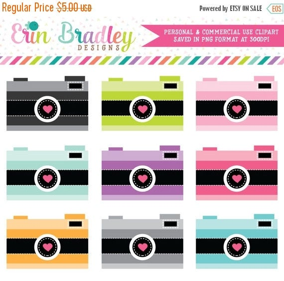 70% OFF SALE Cameras with Hearts Clip Art Clipart Photography Graphics for Personal & Commercial Use