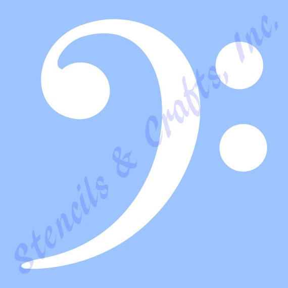 "4.5"" Bass Clef Stencil Music Template Templates Musical Notes"