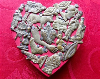 Vintage Wooden Heart  with Milagros from Mexico- Perfect for your loved one this Christmas