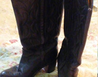 Vintage Leather Black Cowgirl Boots Size 6.5
