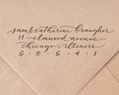 CUSTOM CALLIGRAPHY 'Katie' style rubber address stamp