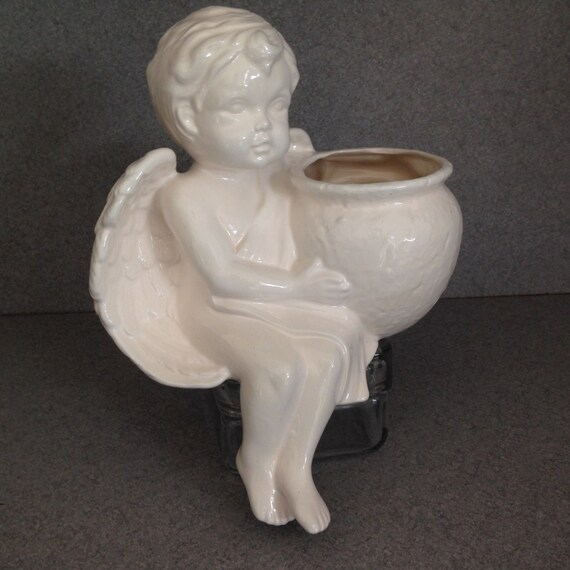 Patio Pot White Cherub Ceramic Shelf Sitter Planter Pot1216