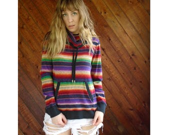 Navajo Rainbow Striped Thermal Pullover Top - Vintage 90s - S/M