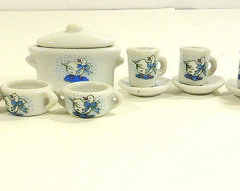 Vintage Miniature Goose Ceramic Soup Tureen Soup Bowls Coffee Mugs Saucers Goose with Blue Ribbon  Play Ceramic Doll House Dishes