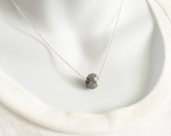 Minimal Necklace, Faceted Silver Gold Bead, Faceted Ball Chain,