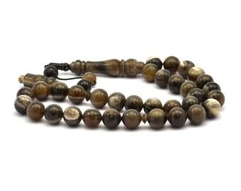Black Prayer Beads, 33 PCS Buffalo Horn Rosary Beads (12mm) T089