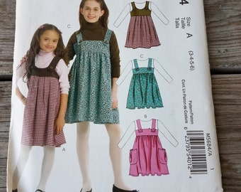 McCalls M5684 Size 3-6 Girl's Jumper Sewing Pattern / UNCUT Factory Folded
