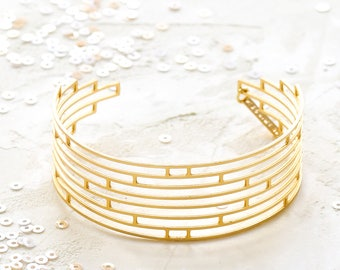 Empire Bracelet, Geometric Bracelet, Art Deco Jewelry, signature bracelet, Architectural jewelry, Geometric Jewelry