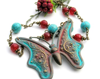 Butterfly Necklace, Holiday Jewelry, Turquoise Necklace