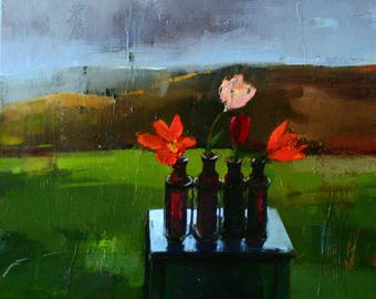 Floral Oil Painting on Canvas Landscape Still Life Realism Flowers Clouds Original Painting By BobbieJansen