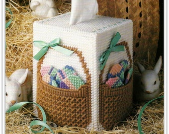 Easter Basket Tissue Topper Pattern - Easter Eggs and Basket on a Boutique Size Tissue Box Cover - PDF 49121031