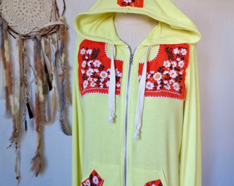 Yellow Orange Mexican Embroidered Flower Eco Chic Bohemian Hippie Upcycled Zip Up Hoodie Hooded Sweatshirt Sweater Festival Size Medium
