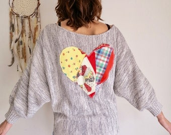 Dolman Sleeve Bohemian Hippie Gypsy Patchwork Heart Cozy Knit Slouchy Drapey Layering Off The Shoulder Sweater Top Shirt Womens Size Medium