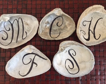 2 monogram ring dishes handlettered Bridesmaid gift seashell jewelry trinket dish Outer Banks wedding hostess ringbearer BeachHouseDreamsOBX
