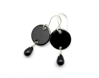 Black Earrings - Black Drop Earrings - Black Enamel on Copper with Sterling Silver Earwires - Goth Earrings