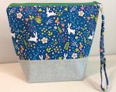 Small Project Bag - Cute Bunnies print