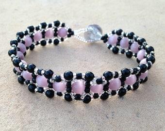 Bracelet - Lavender, Black, and Silver - Metal Free