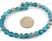 Czech Round Glass Beads-FROSTED AQUA VITRAIL 6mm (30)